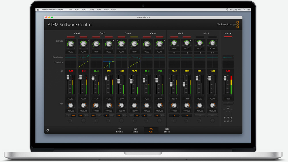 ATEM Software Control Audio Screen.