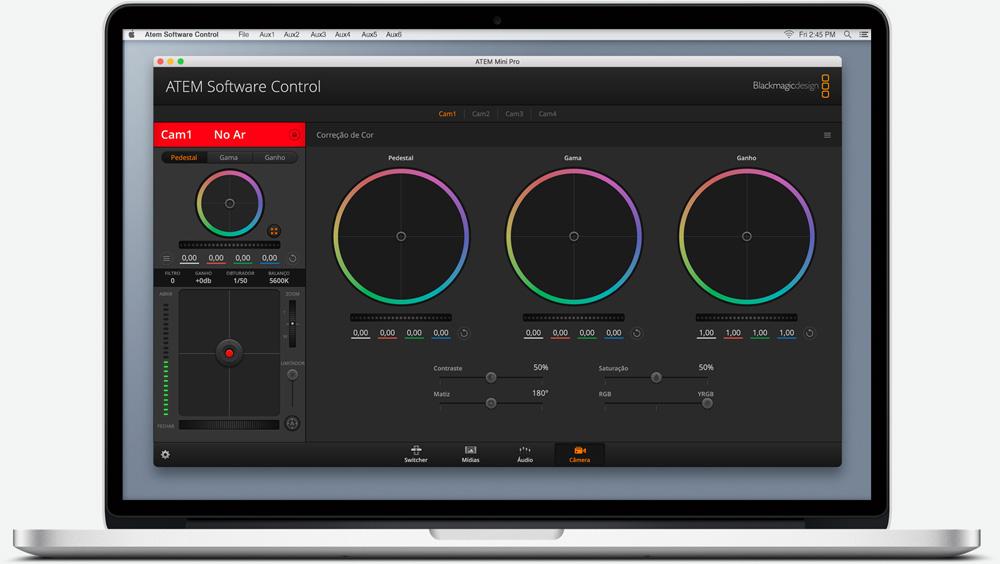 ATEM Software Control Camera Control Screen.
