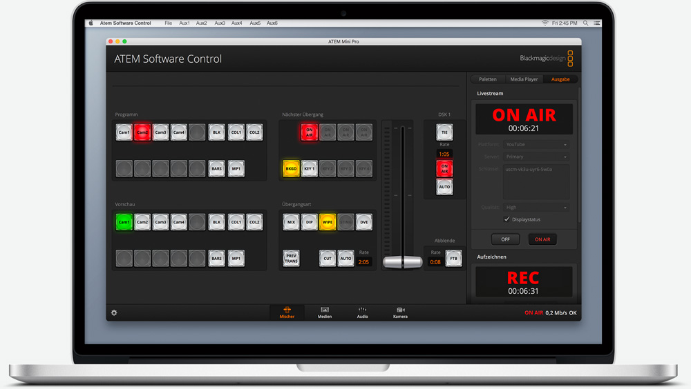 ATEM Software Control Switcher Screen.