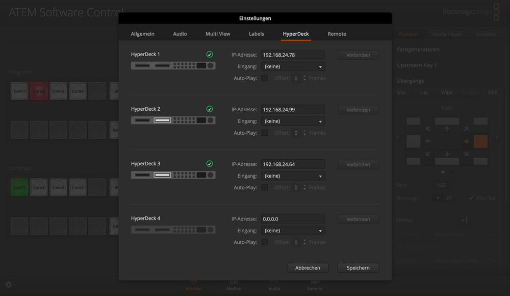 Switcher Settings - HyperDeck