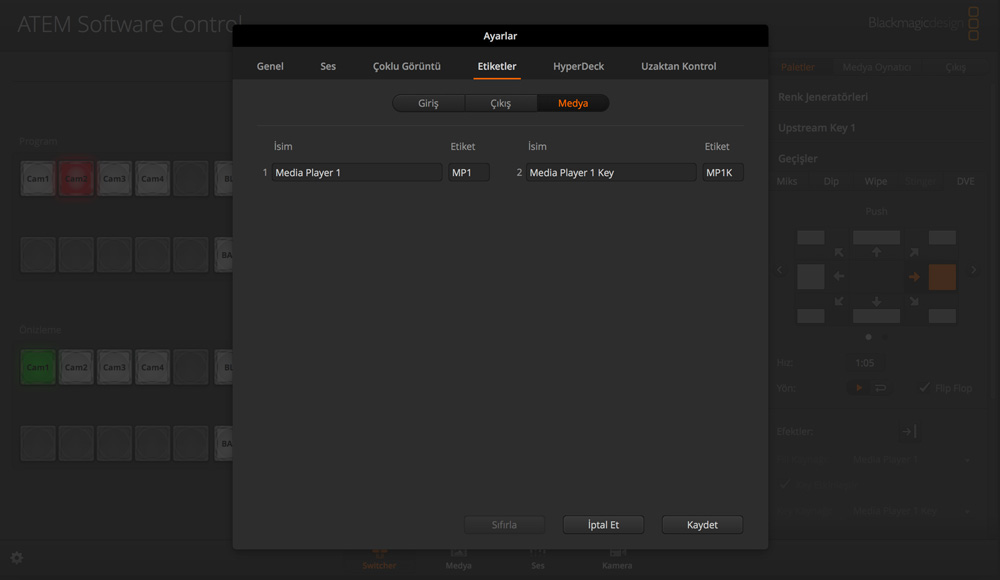Switcher Settings - Labels