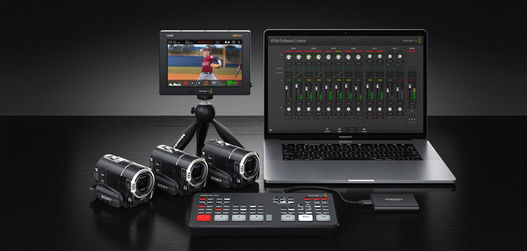 ATEM Mini Pro with laptop, cameras and Blackmagic HDR monitor.