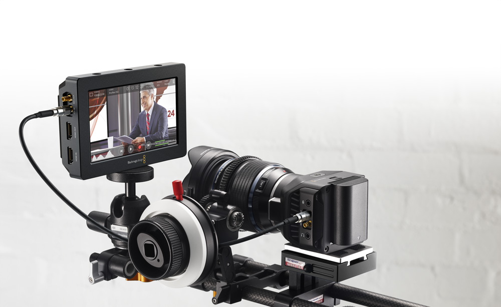 Blackmagic Micro Studio Camera with Blackmagic Video Assist attached