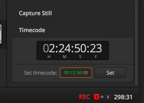 Timecode user interface