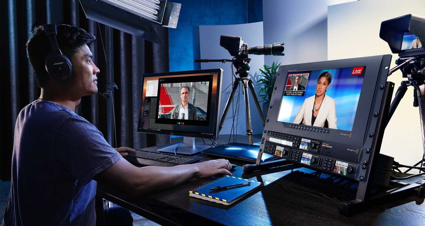 Blackmagic web presenter workflow blackmagic design for Camera it web tv