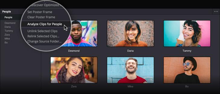 Automatically organize clips using facial recognition!