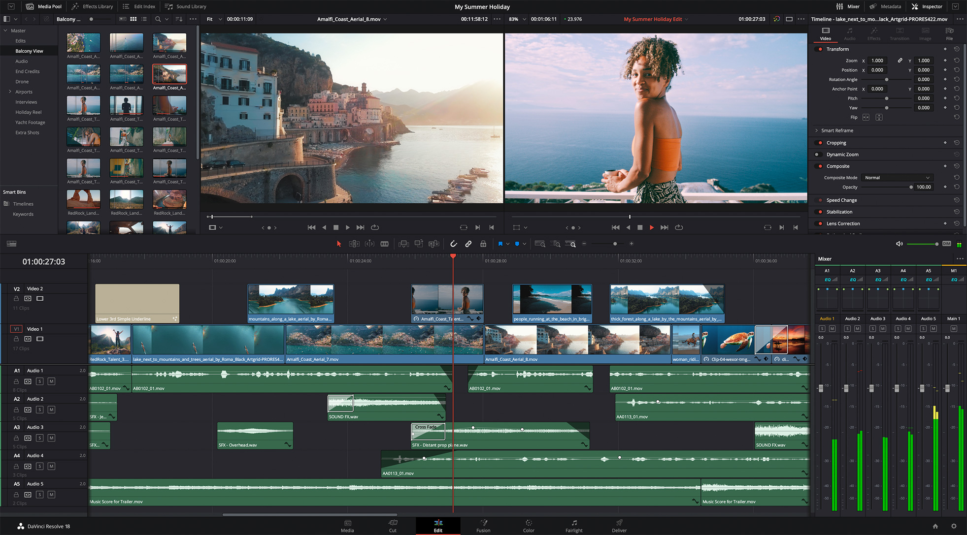 DaVinci Resolve 17 Edit Page