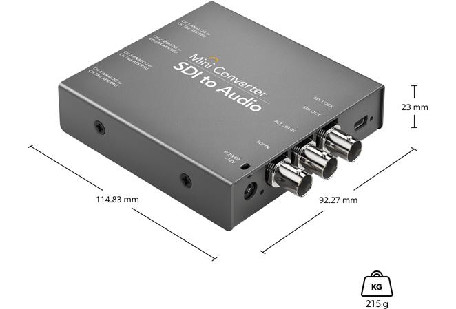 Dimensiones Mini Converter SDI to Audio