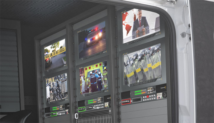Broadcast truck with SmartView monitors