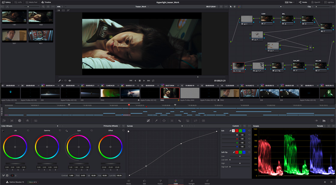 DaVinci Resolve screen